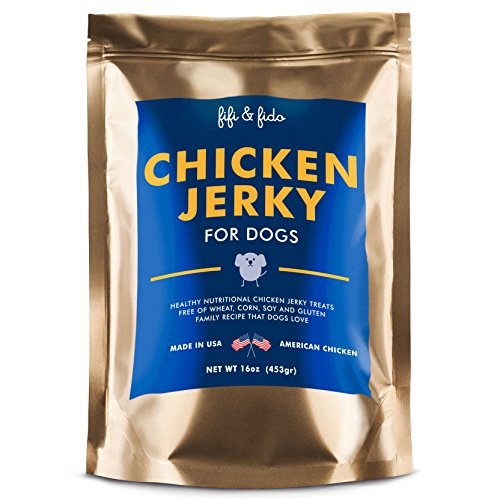 Dog Treats Made in the USA Only - Chicken Jerky Chew Sticks - All Natural Healthy Gluten & Grain Free Pet Food Snacks - Perfect Training Supplies - Fifi & Fido Chicken Jerky Treats