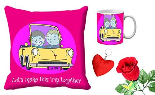 meSleep Let's Trip Together Valentine Digital Printed Cushion (With Filler) & Mug Withfree