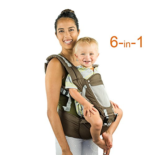 Brown Baby Sling - Front Back Baby Carrier with Hipseat - 6 Position 360° Ergonomic All Seasons Child Sling for Newborn,Infant & Toddler (Brown)
