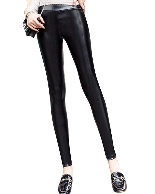 6e0da5f91f6f Donna Skinny Pu Leggings Similpelle Elastico Termici Pantalone Pelle  Effetto Pantaloni: Amazon.it: Abbigliamento