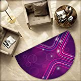Eggplant Semicircle Doormat Abstract Purple Parallel Lines in a Violet Environment with Transparent Circles Halfmoon doormats H 55.1'' xD 82.6'' Violet Pink