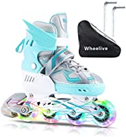Wheelive Adjustable Inline Skates for Kids, Children's Roller Skates Blades with Light up Wheels, Beginner