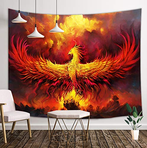 JAWO Fantasy World Tapestry Wall Hanging, Golden Red Burning Phoenix Volcanic Ancient Mystic Animal Birds Hippie Tapestries Dorm Living Room Bedroom, Wall Blanket Beach Towels Home - Tapestry Hanging Birds Wall