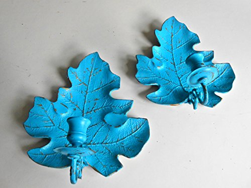 (BRASS Candle Holders, Upcycled Vintage, Wall Sconces, Candleholders, Teal and Gold, Distressed, Shabby Chic, Leaf Design, Beach Decor, Contemporary Home Decor, Wall Decor, Candleholders)