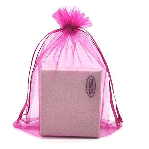 (SUNGULF 100pcs Organza Pouch Bag Drawstring 6