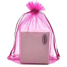 """SUNGULF 100pcs Organza Pouch Bag Drawstring 6""""x9"""" 16x22cm Strong Gift Candy Bag Jewelry Party Wedding Favor (Hot Pink)"""