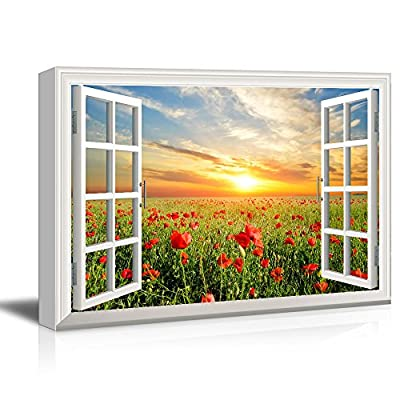 Alluring Portrait, Window View Red Poppy Flower Field at Sunset, Professional Creation