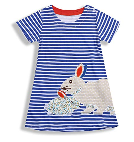 Younger star Baby Girls' Easter Holiday Sleeveless Casual Dress (Blue, 3-4 Years)