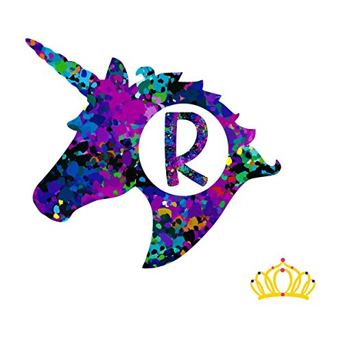 Letter R Monogram Unicorn Decal for Yeti Cup, Tumbler, Laptop, or Car - 3 inch height
