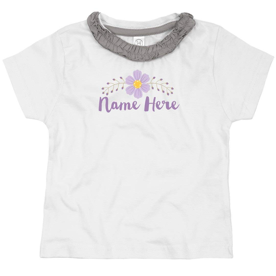 Custom Name Purple Flower Toddler Ruffle Neck Tee