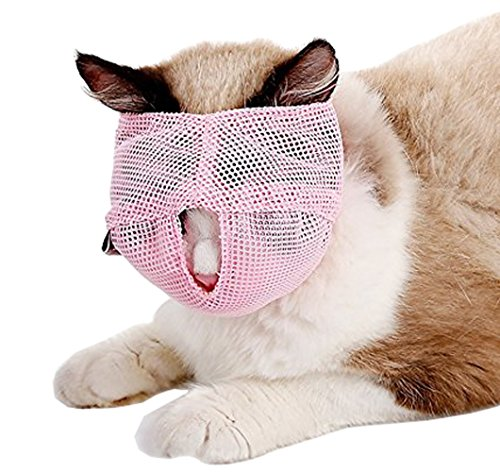 QBLLEV Cat Muzzles Grooming Tools,Breathable Adjustable Mask, Small Large Pet Supplies Anti Bite Anti Meow By