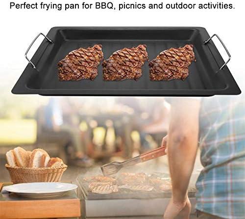Bbq Frying Pan - Poêle à Frire En Acier Inoxydable Non Collante Pour Barbecue, Plaque De Cuisson Pour Barbecue, Pique-Niques Et Activités De Plein Air