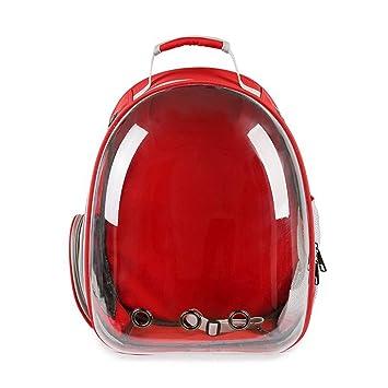 JOYIYUAN Cápsula Espacial Bolsa para Mascotas Bolsa Transpirable para Gatos Mochila Transparente para Mascotas (Color : Red, Size : 31 * 28 * 42cm): ...
