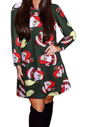 Pink Queen Womens Long Sleeve Cartoon Santa Claus Printed Skater Dress XXL