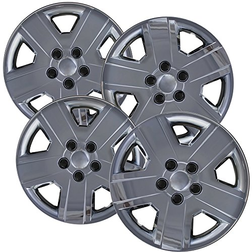 Hubcaps for 16 inch Standard Steel Wheels (Pack of 4) Wheel Covers - Snap On, Chrome - Suzuki Grand Vitara Jeep