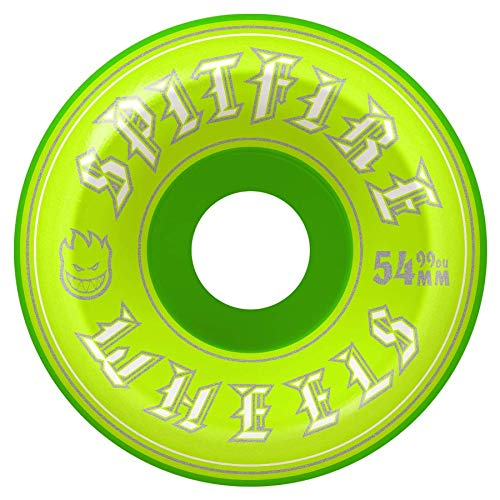 (Spitfire Classic 54mm 99D Old English Conical Full Skateboard Wheels - Green (set of 4))