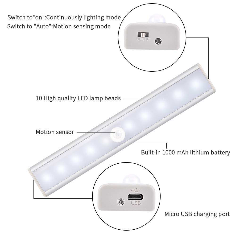 10 LED USB Recargable magnético Movimiento Sensor Luces nocturnas,LED Cabinet Light, Auto en/apagado Portátil Sin cable,palo en cualquier sitio para armario ...