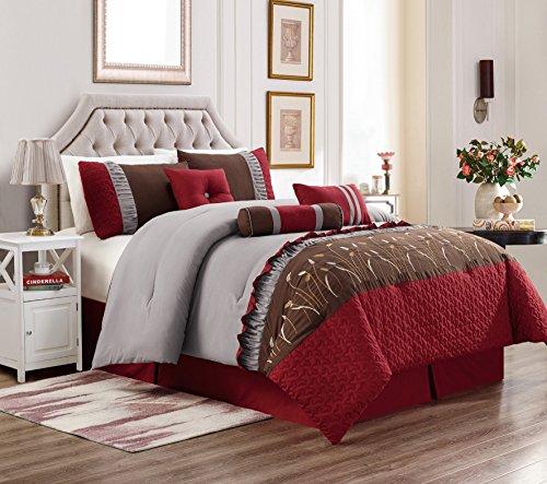 Queen Comforter Spice Set (Unique Home 7 Piece Marcia Patchwork Bed in a Bag Comforter Set Burgundy (Burgundy/Brown, Queen))