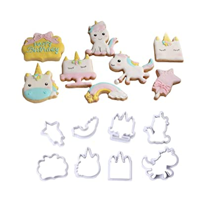 Rocita 8pcs / Set Unicornio de la Galleta de la Galleta Cortadores de anidamiento de plástico