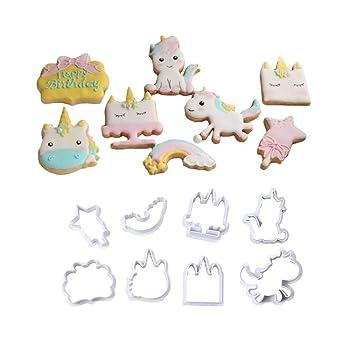Juego de 8 moldes para galletas de unicornio y galletas de plástico para masa, chocolate, fondant, donut y magdalenas: Amazon.es: Hogar