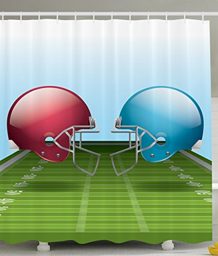 Sports Decor Green Football Field Helmets Sport Lover Game Arena Him Design Gifts for Men Polyester Fabric Man Cave Shower Curtain, Green Blue Red