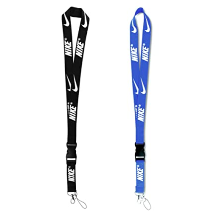 Badge Lanyard 2 Pack, Black White Blue Keychain Lanyard Cell Phone Lanyard  Cute ID Badge Holder Key Lanyard for Men Women