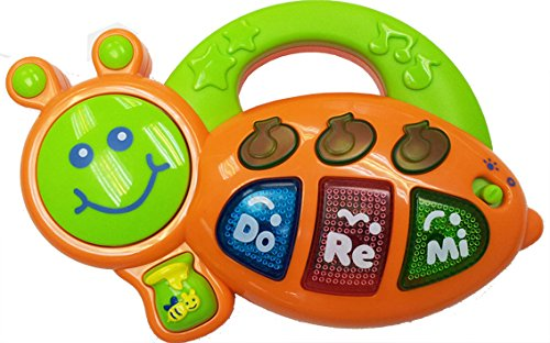 Big Bee Keyboard Baby Toddler Toys Electronic Musical Education Toys with light up Baby Melodies for infants (Orange / Green)