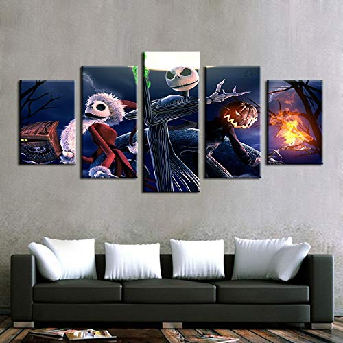 WSJXY 5 Canvas Paintings Canvas Pictures Wall Art 5 Piece Nightmare Before Christmas Painting Print Halloween Poster Living Room Home Decor -