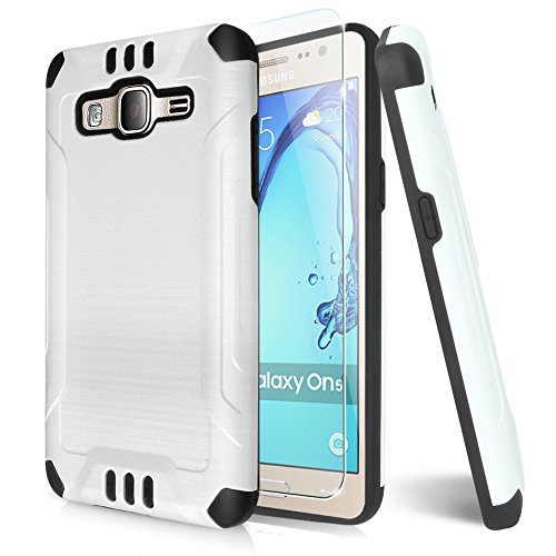 Galaxy On5 Case With TJS® Tempered Glass Screen Protector Included, Dual Layer Shockproof Hybrid Armor Drop Protection Metallic Brushed Finish Case Cover For Samsung Galaxy On5/G550 (White)