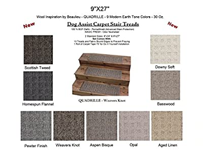 """9""""x27"""" DOG ASSIST Carpet STAIR TREADS - QUADRILLE - 35 Oz. Textured Loop Style in Modern Earth Tones 