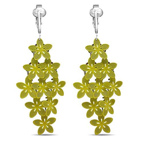 (Beautiful Dangle Clip On Earrings for Women, Bohemian Drop Butterfly, Dragonfly, Leaves, Flowers (Yellow Flowers))