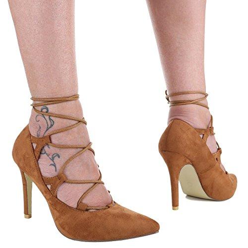 Ital-Design Damen Schuhe, JH1969-6, Pumps High Heels mit Schnürung Camel