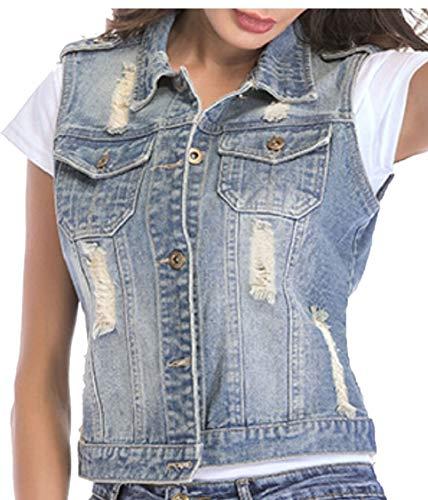 Vest Gocgt Jeans Collar Down Button Women's Light Sleeveless Blue Turn Vest Sexy Down Demin qwxxSp