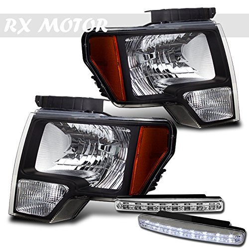 Ford F150 F-150 SVT Fx4 Lariat Black Headlights Amber Corner + DRL LED Fog Bumper Lights