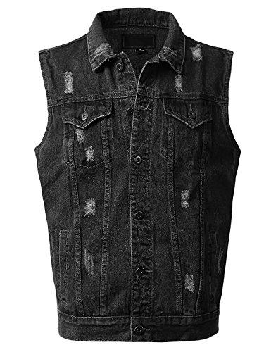 URBANCREWS Mens Hipster Hip Hop Fashion Denim Vest Jacket BLACKDISTRESS, M
