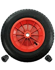 "First4spares 14"" 3.50-8 Complete Wheelbarrow Wheel, Inner Tube, Tyre & 1/2"" Axle Reducer Bushes for Garden Trolley/Barrow/Go Cart/Trailer Truck (Red)"