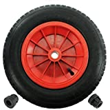 "First4spares 14"" 3.50-8 Complete Wheelbarrow Wheel, Inner Tube, Tyre & 1/2"" Axle Reducer Bushes for Garden Trolley/Barrow / Go Cart/Trailer Truck (Red)"