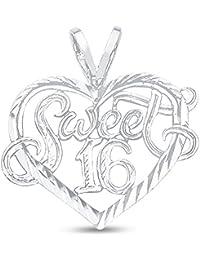 14K White Gold Diamond-Cut Ornate Heart Shaped Sweet 16 Charm Pendant (16x19 mm)