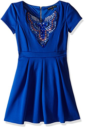 My Michelle Girls' Big Scuba Dress with Jeweled Neckline and Zip Back, Electric Blue, 8