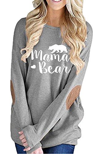 - ALBIZIA Women's Crew Neck Mama Bear Printed Patches T Shirt Sweatshirt S Grey
