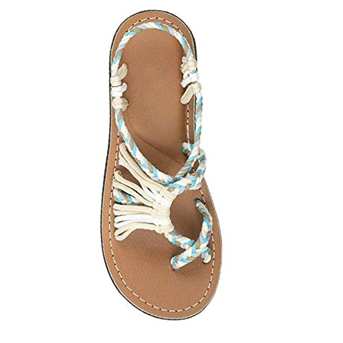 7b14ce5a9 softome Women s Flat Sandals Seashell Rope Flip Flops Beach Shoes Beige US  4.5