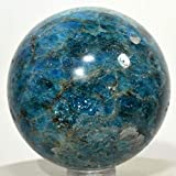 52mm Rich Blue Apatite Sphere Natural Sparkling Mineral Ball Polished Quartz Crystal Stone - Madagascar + Plastic Stand
