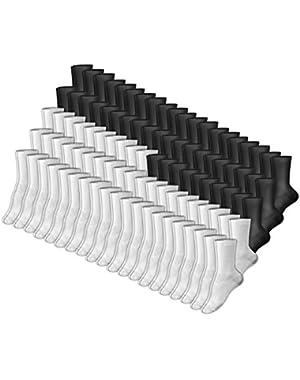 Hanes 683/10 Women's Crew Sock 9-11 50 Black + 50 White - 10 Packs (100 Pairs Total)
