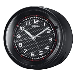 Seiko Bedside Alarm Clock Black Metallic Case