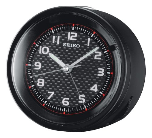 Seiko Bedside Alarm Clock Black Metallic Case