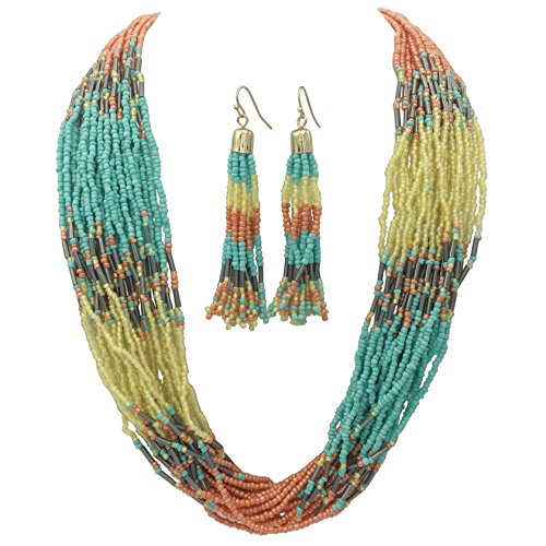 Gypsy Jewels Multi Row Layered Seed Bead Statement Necklace and Dangle Earring Set (Peach Light Blue Yellow)