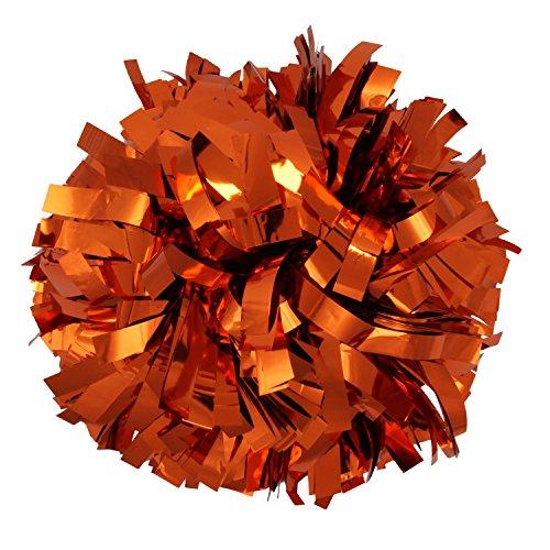 ICObuty Metallic Cheerleader Cheerleading Pom Poms 6 inch 1 Pair 2 Pieces (Orange) (Orange Cheerleader Pom Poms)