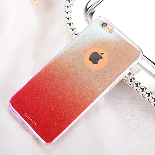 SULADA Fashion Blue-ray Gradient Color TPU Back Tasche Hüllen Schutzhülle - Case für iPhone 6s/6 4.7-inch - Rot