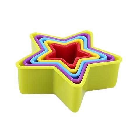 Bigfamily 5pcs / set Navidad 3D Pastel de fondant molde corazón estrella de cinco puntas de