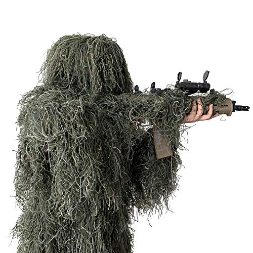LOOBEEN Ghillie Suit 5-in-1 Camouflage Clothes Grass Camo Hunting Clothing